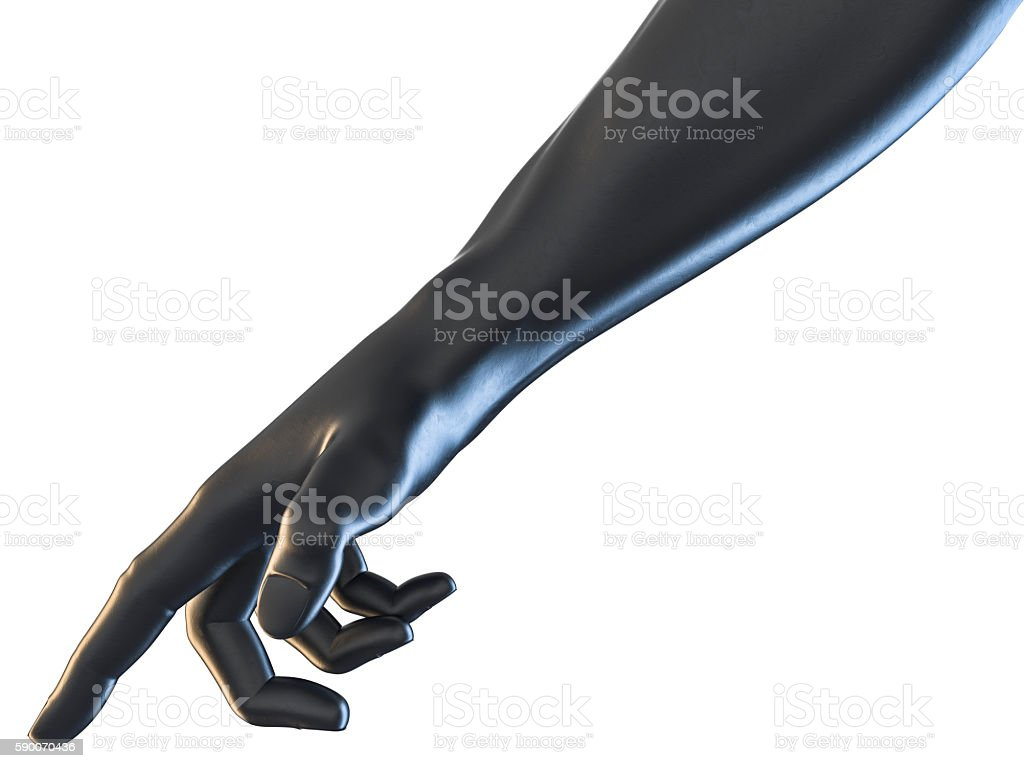 3D rendering of hand pointing concept black rubber textured stock photo