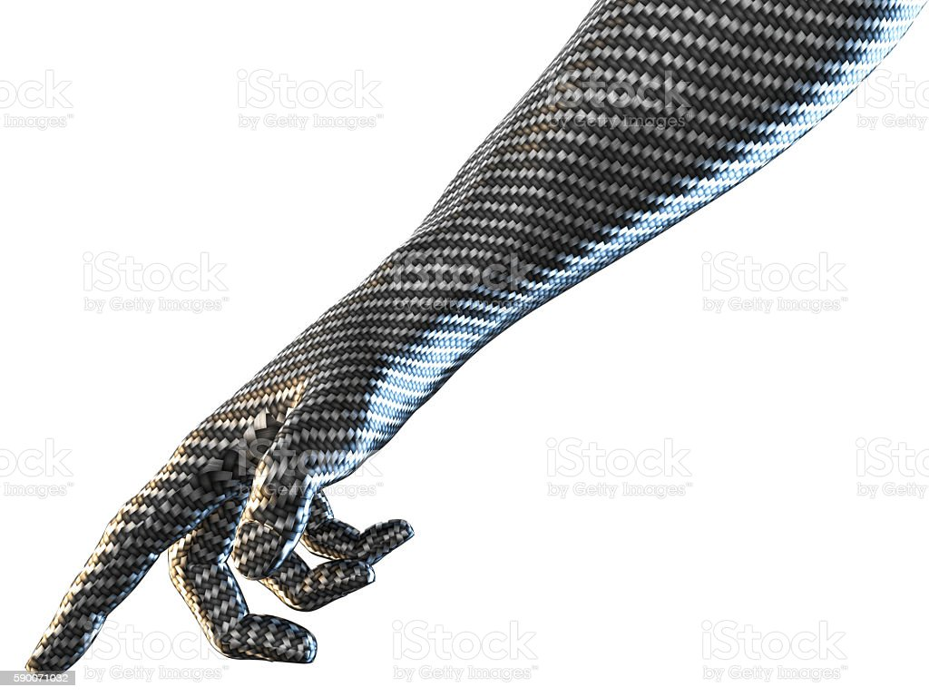 3D rendering of hand pointing concept carbon fiber textured stock photo