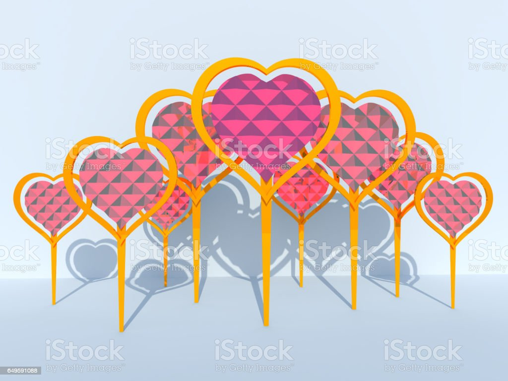 3D rendering of heart-shaped design stock photo