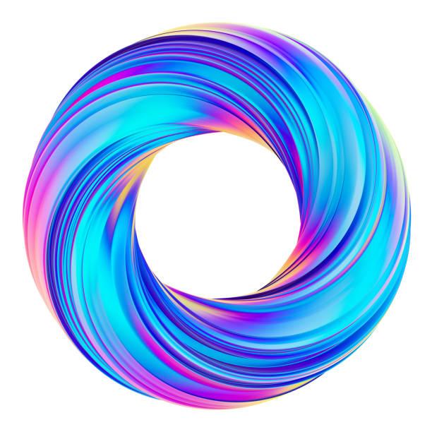 Rendu 3D holographique cercle abstrait torsadée forme - Photo