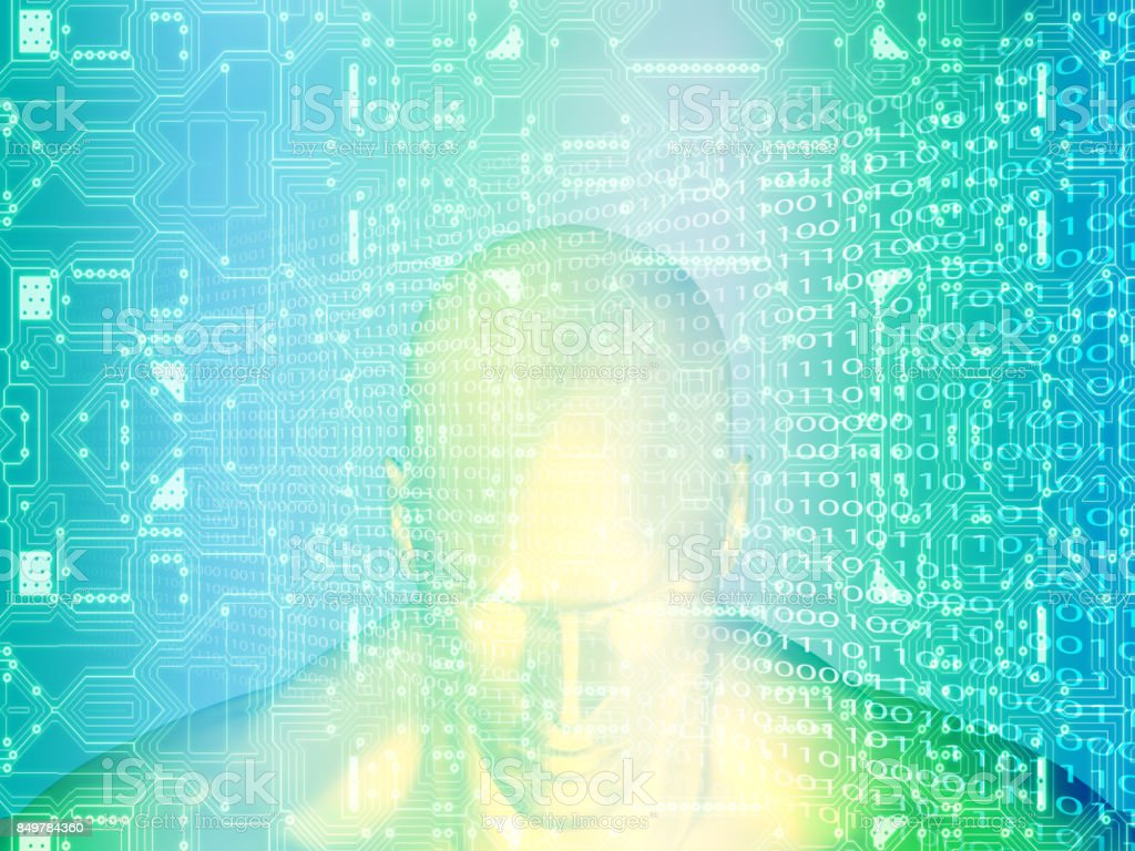 3D rendering of Human head on a background with circuit stock photo