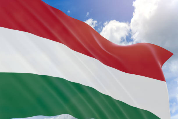 3D rendering of Hungary flag waving on blue sky background stock photo