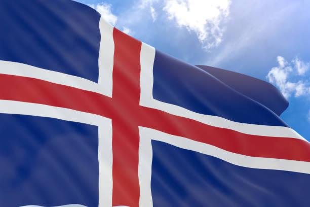 Renderização 3D da bandeira de Islândia acenando sobre fundo de céu azul - foto de acervo