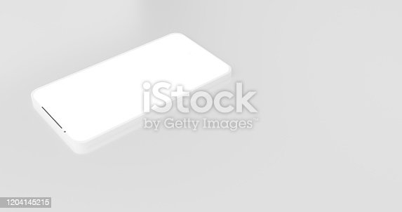 istock 3D rendering of illustration hand holding the white smartphone with full screen on isolate background. Creative Modern mock up frame less design object.Concept of modern smartphone minimalist space. 1204145215