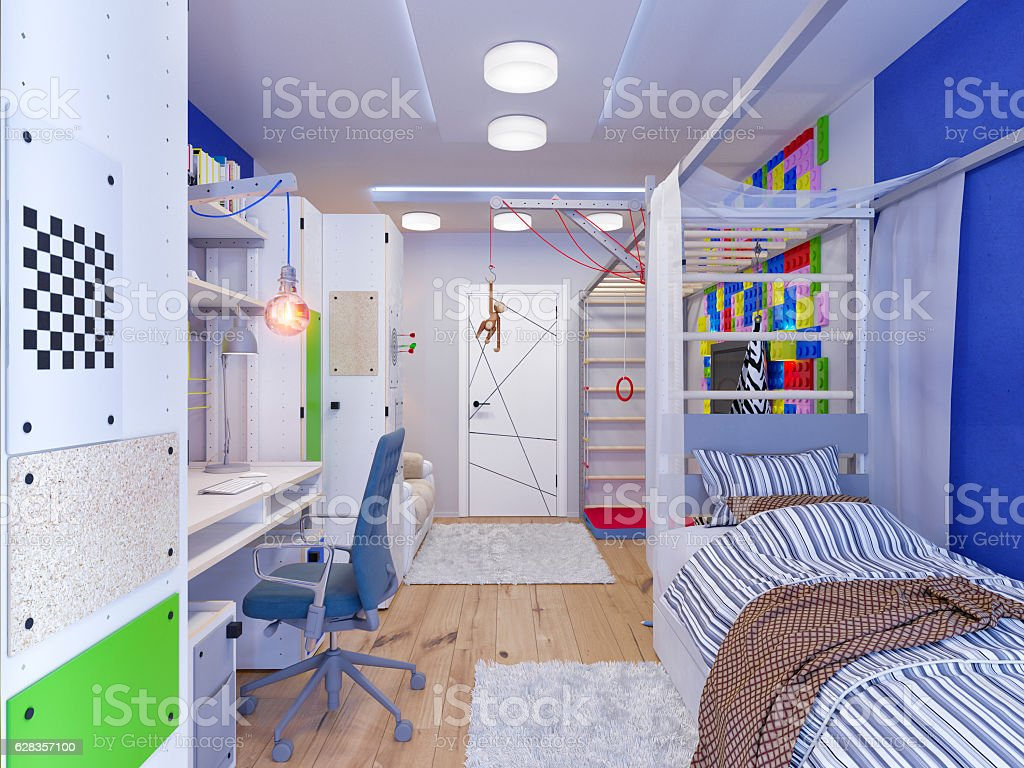 rendering of interior design children's room stock photo