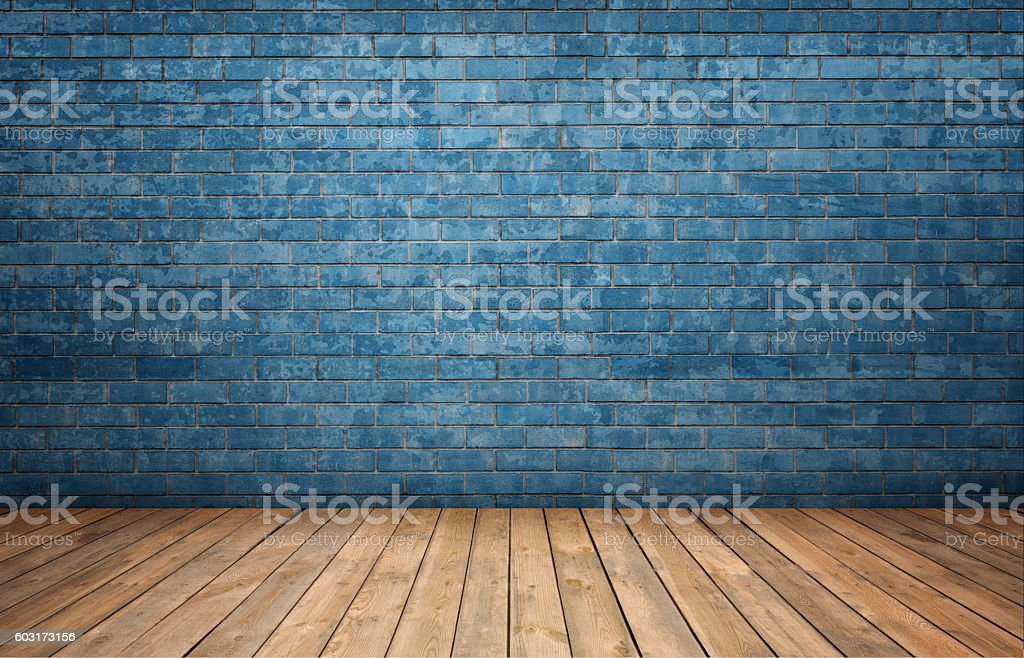 Rendering of interior with blue brick wall and wooden floor stock photo