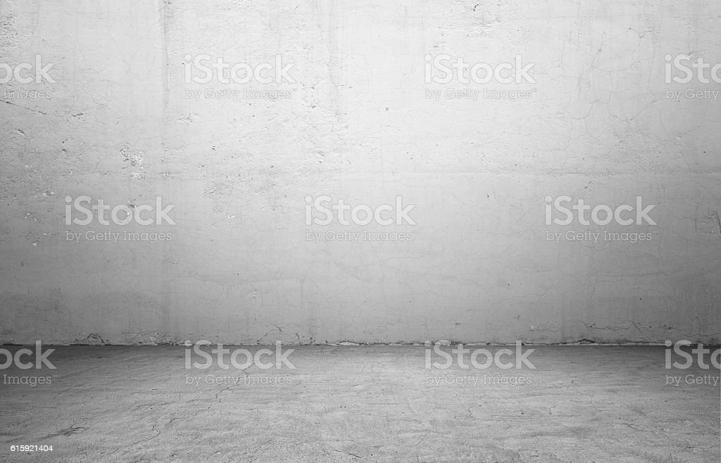 Rendering of interior with concrete wall and floor. stock photo