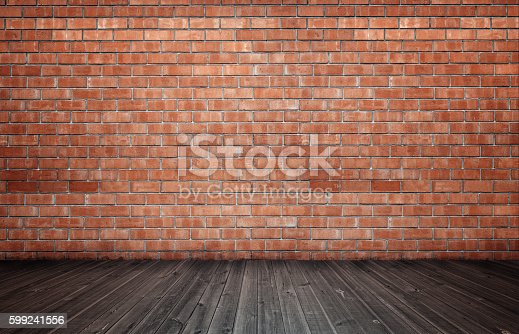 3d rendering of interior with red brick wall and wooden floor. Copyspace. Rough and ragged textures. Timber.