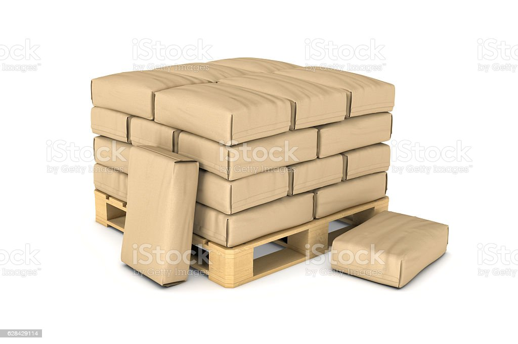 Rendering of large paper bags rest on pallet stock photo