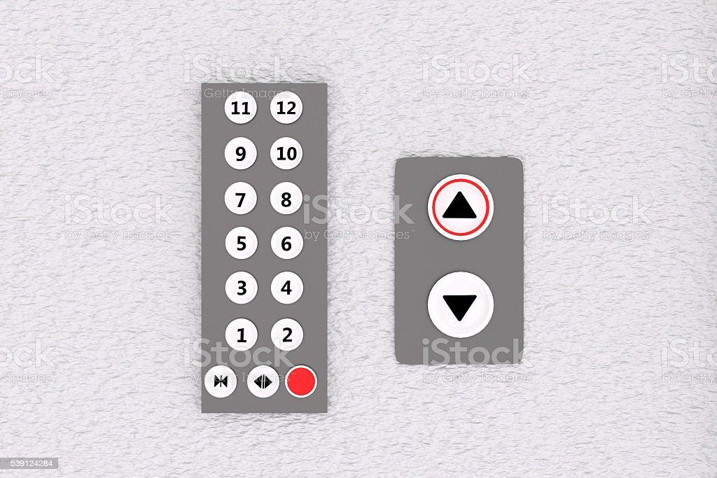 Representación en 3D de panel de elevación y botones de - foto de stock