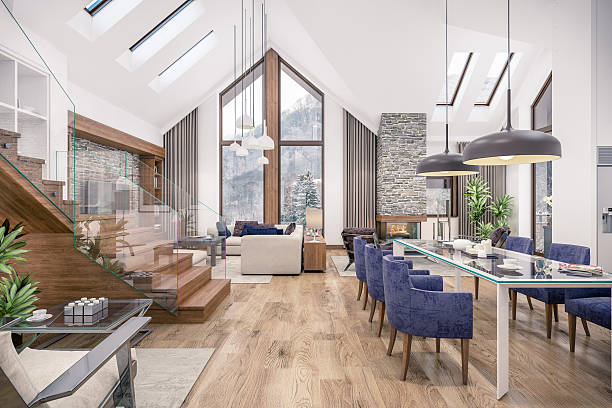 3d rendering of  living room of chalet - 田舎のライフスタイル ストックフォトと画像