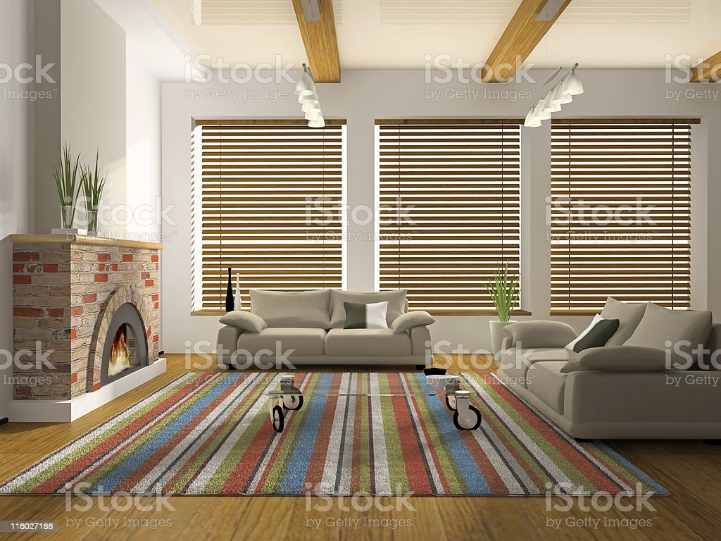 3D rendering of living space interior with fireplace stock photo