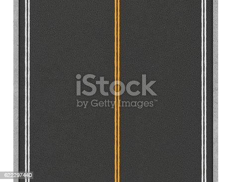 621693226istockphoto Rendering of lonely two-way asphalt road, isolated on white 622297440