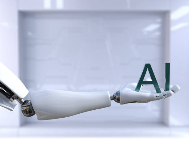 3D rendering of male robot hand holding the letters AI. stock photo