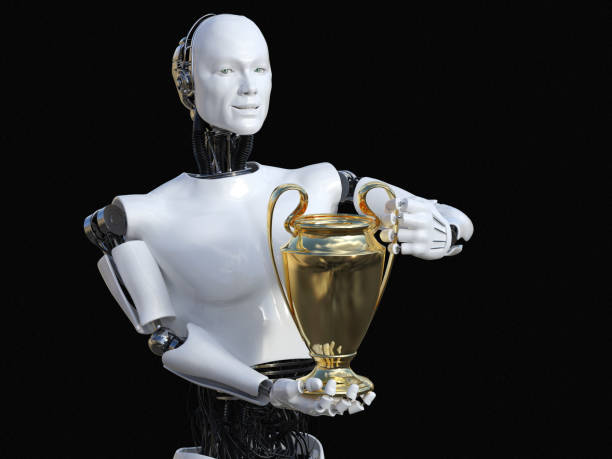 3D rendering of male robot holding golden prize trophy award stock photo