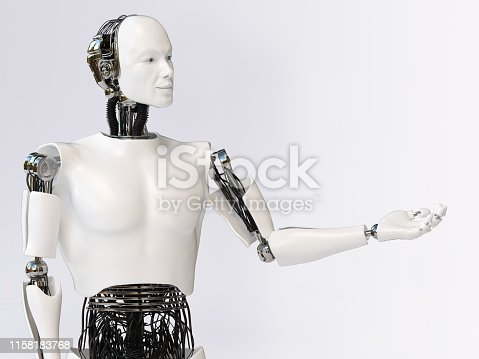 istock 3D rendering of male robot presenting something. 1158183768