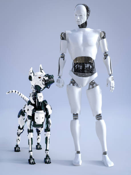 3D rendering of male robot with a futuristic robot dog. stock photo
