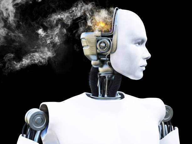 3D rendering of male robot with smoke from his head. stock photo