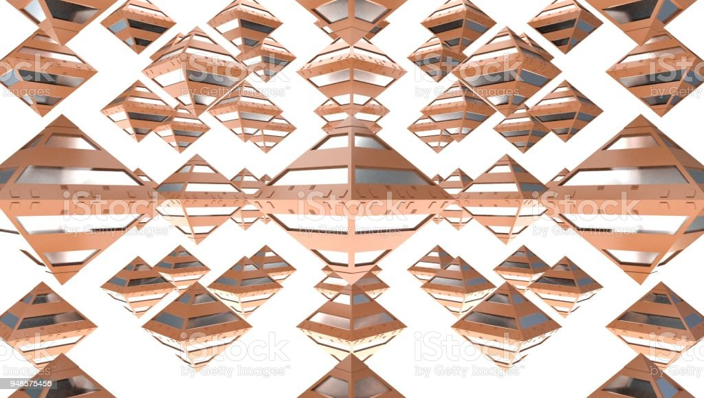 Rendering of many polygons of gold, 3d illustration stock photo