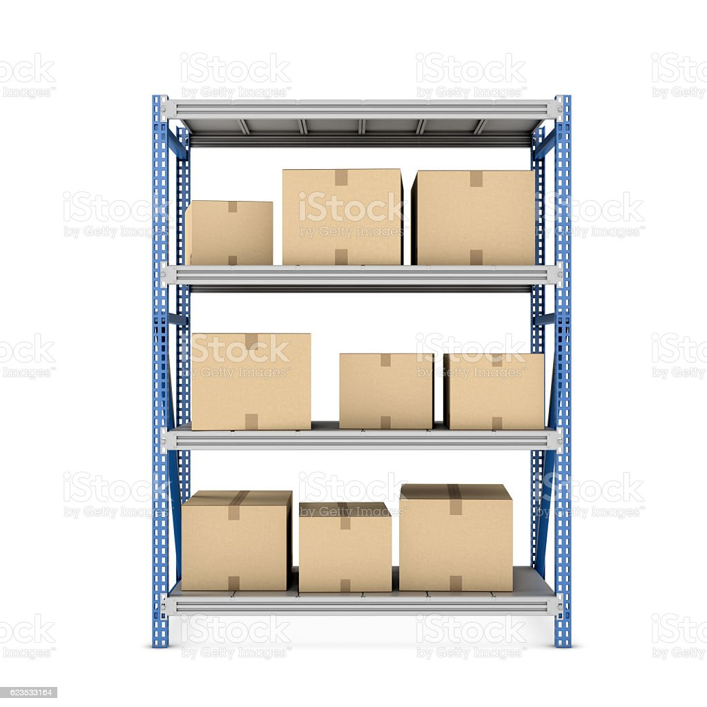 Rendering of metal rack with beige cardboard boxes different size stock photo