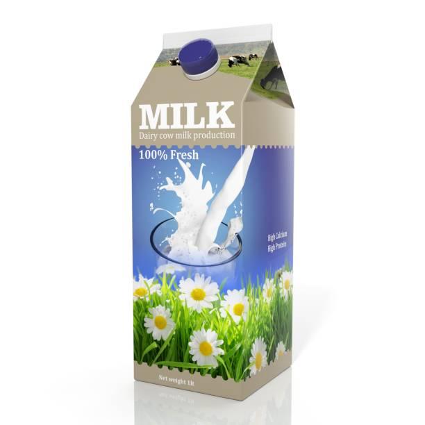 Rendu 3D de lait emballage papier, isolé sur fond blanc. - Photo