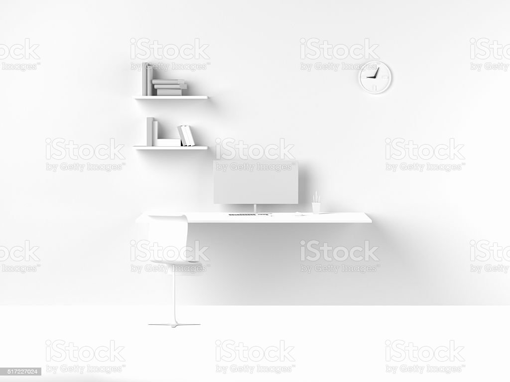 3D Rendering of modern white interior work space home office. stock photo