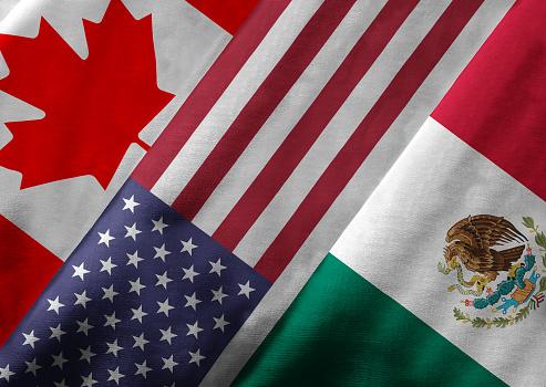 istock 3D Rendering of North American Free Trade Agreement NAFTA Member 518729077