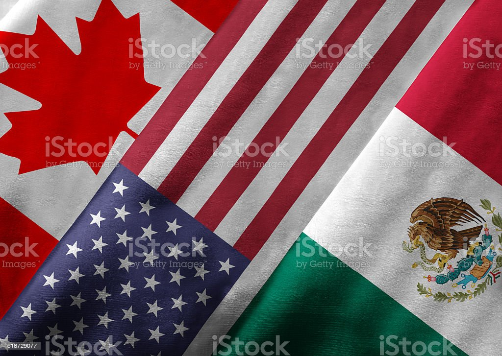 3D Rendering of North American Free Trade Agreement NAFTA Member stok fotoğrafı