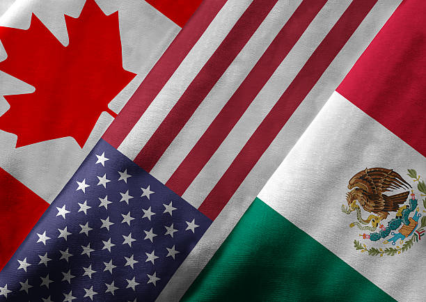 3D Rendering of North American Free Trade Agreement NAFTA Member Closeup of the flags of the North American Free Trade Agreement NAFTA members on textile texture. NAFTA is the world's largest trade bloc and the member countries are Canada, United States and Mexico. 3D rendering with detailed textured grunge effect on closeup. canada stock pictures, royalty-free photos & images