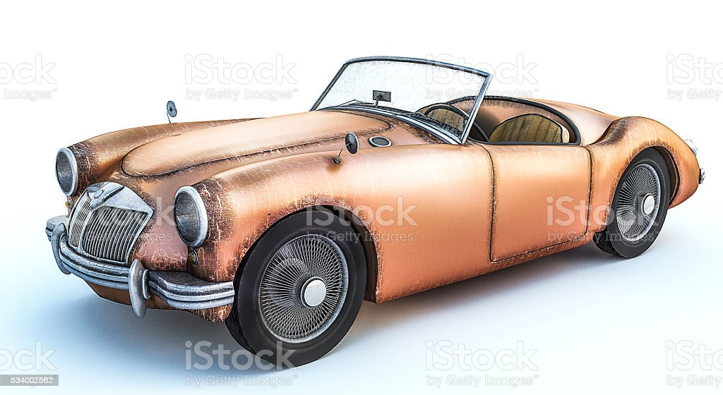 3d Rendering Of Old Rusty Classic Car Stock Photo & More Pictures of ...