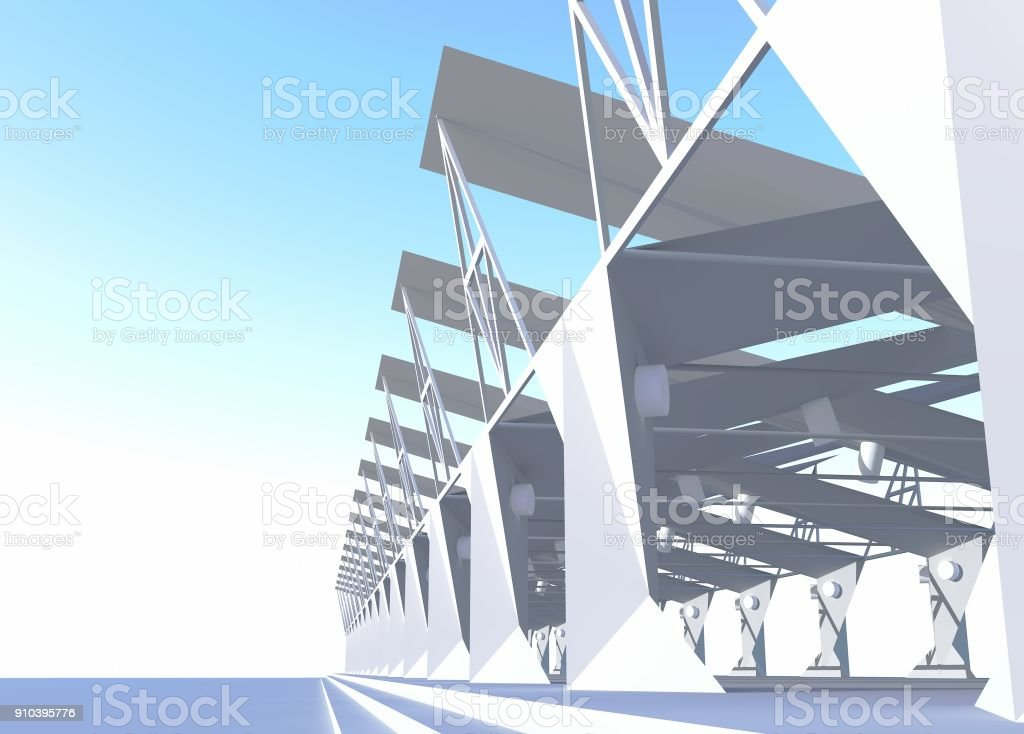 3d Rendering Of Open Building Structure Modern Architecture