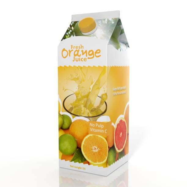Rendu 3D d'emballage en papier Orange Juice, isolé sur fond blanc. - Photo