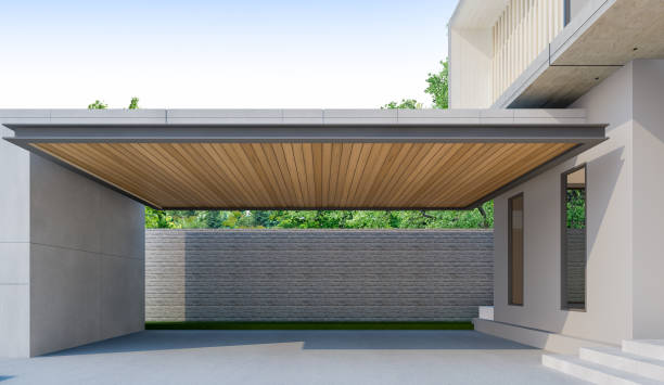 駐車場木造屋根の家での 3 D レンダリング ストックフォト