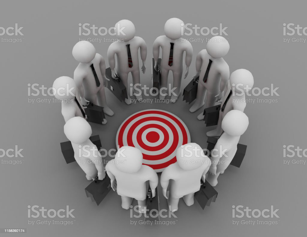 3D rendering of people with target icon