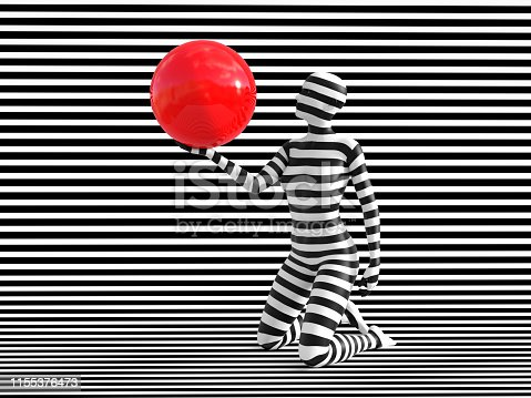 istock 3D rendering of person breaking the pattern. 1155376473