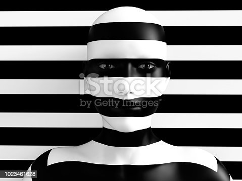 istock 3D rendering of person trying to hide in background. 1023461628