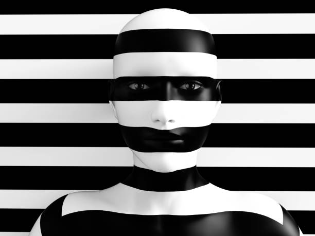 3D rendering of person trying to hide in background. 3D rendering of a womans face trying to blend in with the black and white striped background, afraid to show her true colours. She is standing with her head against the wall and hiding like a wallflower. camouflage stock pictures, royalty-free photos & images
