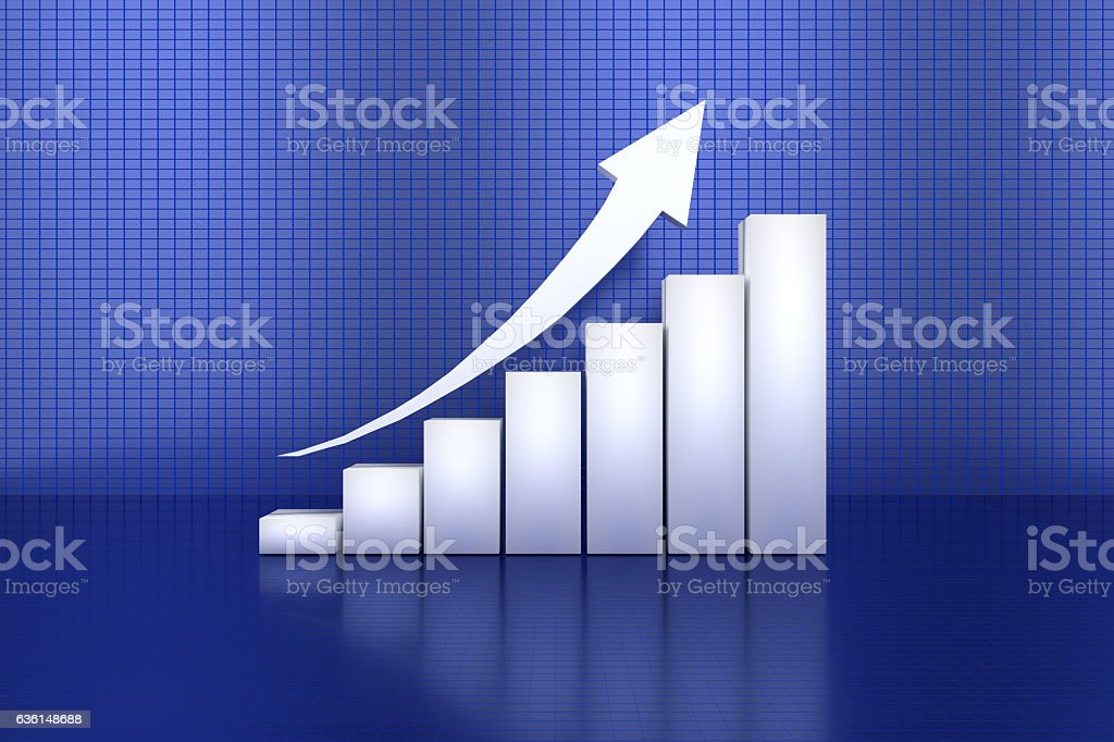 3D rendering of profit going up bar chart stock photo