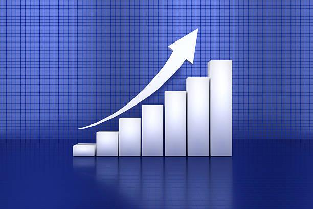 3d rendering of profit going up bar chart - diagramma a colonne foto e immagini stock