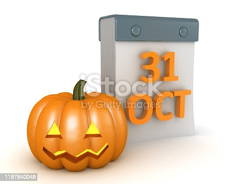 3D Rendering of pumpkin next to calendar showing 31 of October. 3D Rendering isolated on white.