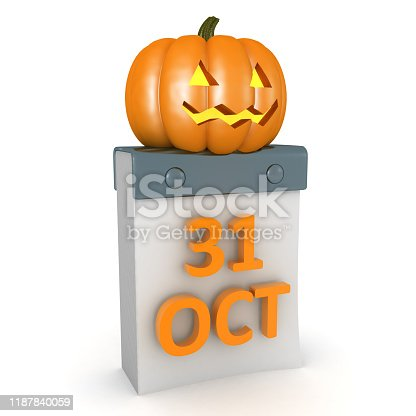 3D Rendering of pumpkin on top of calendar showing 31 of October. 3D Rendering isolated on white.