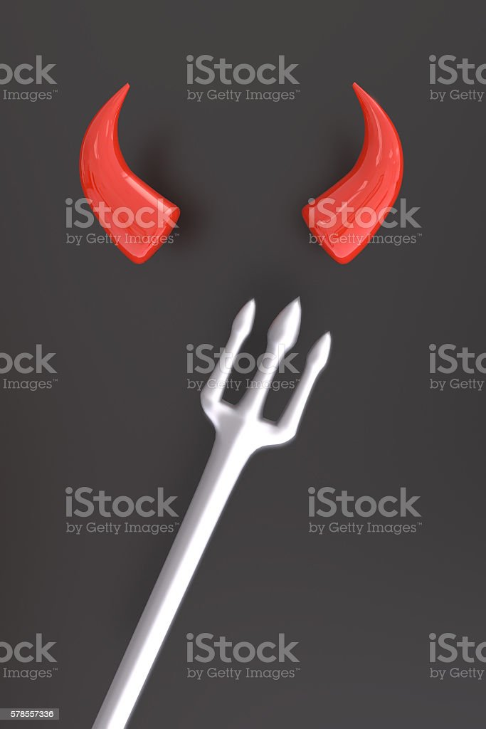 3D rendering of red horns and fork stock photo