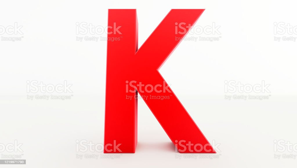 3D rendering of red Letter K. red letter collection k 3D rendering of red Letter K. red letter collection k Abstract Stock Photo