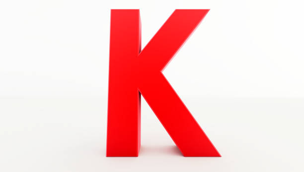3d rendering of red letter k. red letter collection k - k logo zdjęcia i obrazy z banku zdjęć