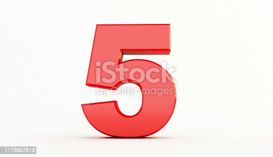 istock 3D rendering of Red Letter. red number set 1173907513