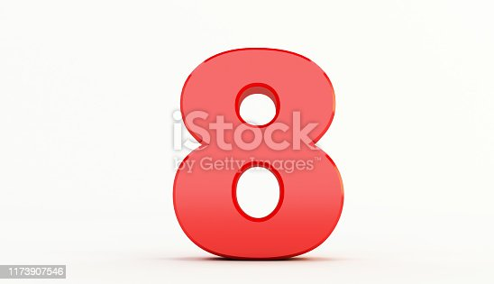istock 3D rendering of Red Letter. red number set 1173907546