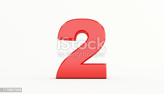 istock 3D rendering of Red Letter. red number set 1173907559