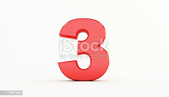 istock 3D rendering of Red Letter. red number set 1173907562