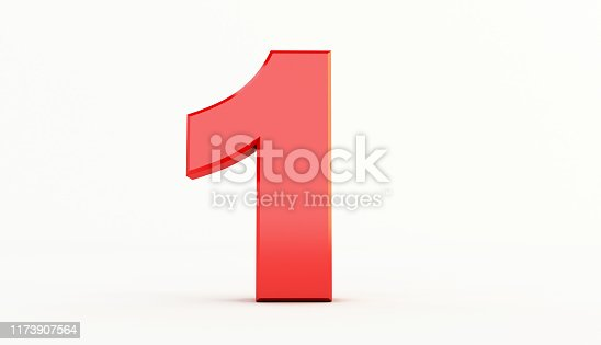 istock 3D rendering of Red Letter. red number set 1173907564