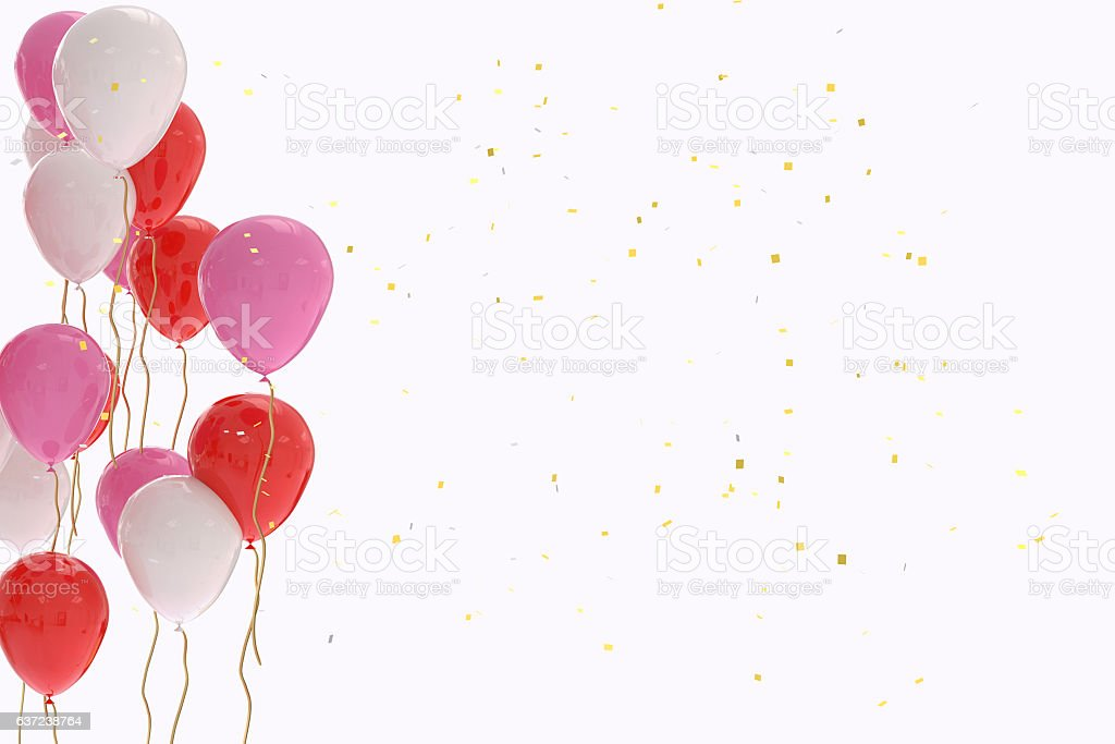3D rendering of red, pink and white balloons stock photo